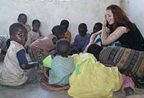 Woman talking to children