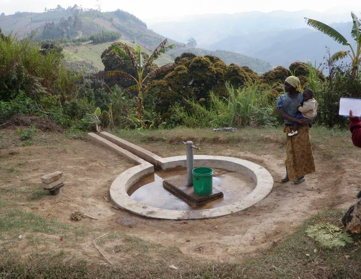 Construction of domestic water points around the village