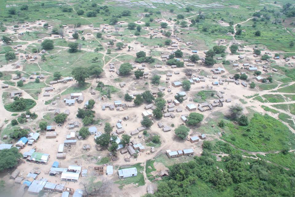 Aerial view of Pawaga homes following the flood
