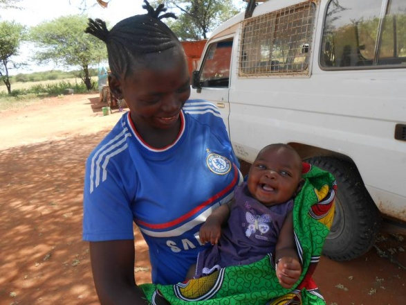 Baby Amina, one month on from her miraculous birth and rescue