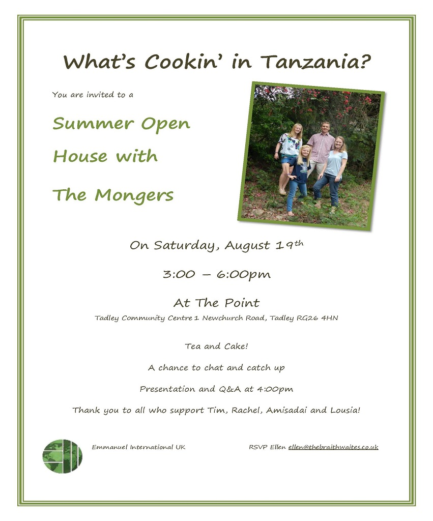 Summer Open House with the Mongers : Saturday 19 August 2017