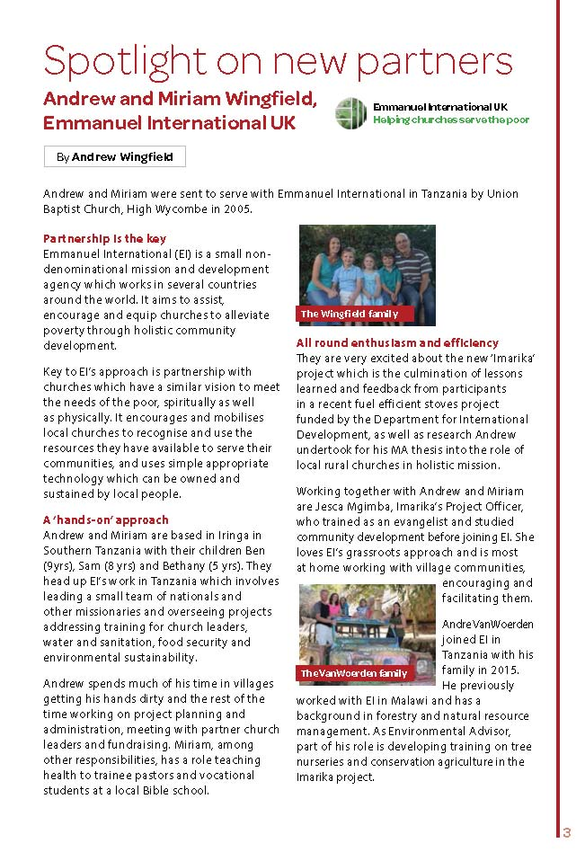 Project Imarika in Tanzania features in Operation Agri's magazine
