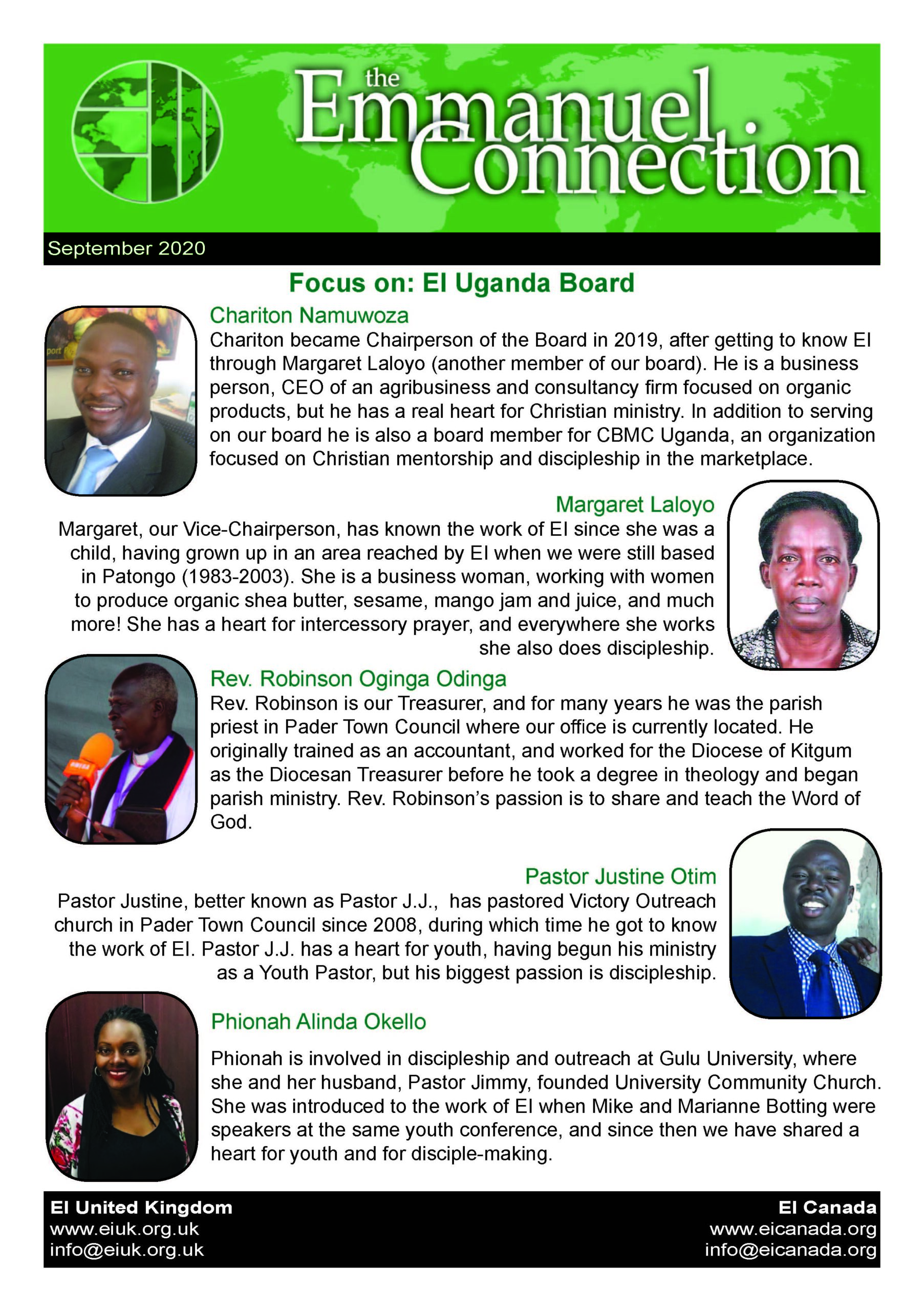 Learn about the EI Uganda board and pray for us in September